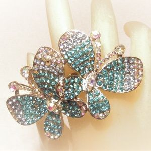 Blinding Blue Ombre Rhinestone Butterfly Ring